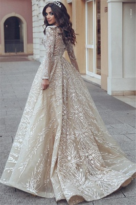 Elegant wedding dresses with lace sleeves | Wedding dresses A line_3