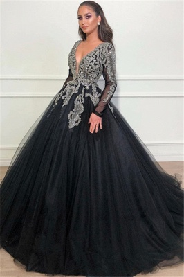Cheap Evening Dresses Long With Sleeves   Buy evening wear black online_1
