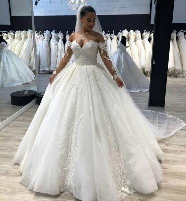 Günstige Brautkleid A Linie   Spitze Hochzeitskleider Mit Ärmel_2