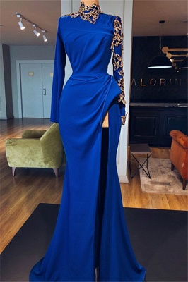 Elegante Abendkleider Mit Ärmel | Abiballkleider Blau Online_1