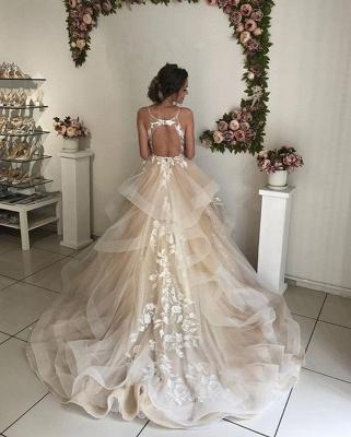 Elegante Brautkleider A linie | Champagne Hochzeitskleider mit Spitze_3