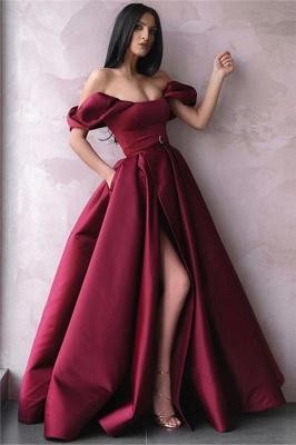 Sexy Abendkleider Lang Weinrot | Abiballkleider Schlicht Online_1