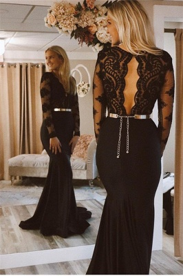 Designer Evening Dresses Long Black | Lace prom dresses with sleeves_2