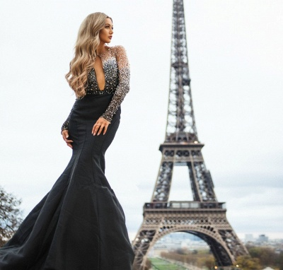 Luxury Evening Dresses Long Cheap | Evening wear with sleeves_5