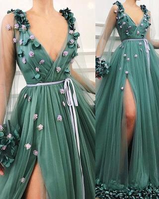 Elegant Evening Dresses Long V Neck | Green evening dress_2