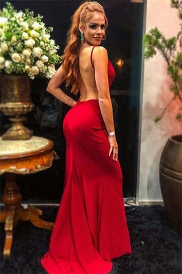 Simple evening dress long cheap | Backless red evening dresses_2