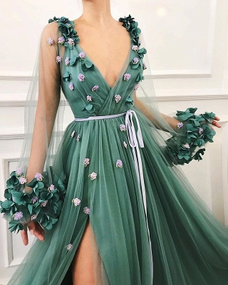 Elegant Evening Dresses Long V Neck | Green evening dress_3