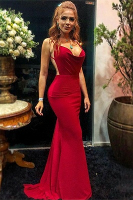 Simple evening dress long cheap | Backless red evening dresses_1