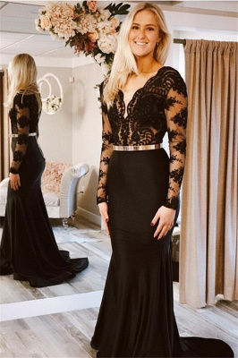 Designer Evening Dresses Long Black | Lace prom dresses with sleeves_1