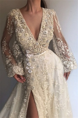 Elegant evening dresses long white | Lace evening wear with sleeves_2