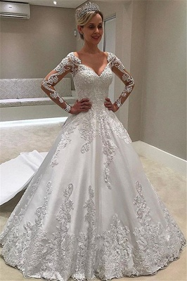 Formal Sweetheart Long Sleeve Satin Wedding Gowns With Lace_1