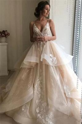 Elegante Brautkleider A linie | Champagne Hochzeitskleider mit Spitze_1