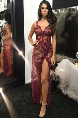 Chic evening dresses long v neckline | Elegant evening wear lace_2