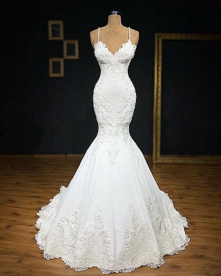 White Mermaid Wedding Dress Cheap | Wedding dresses with lace online_1