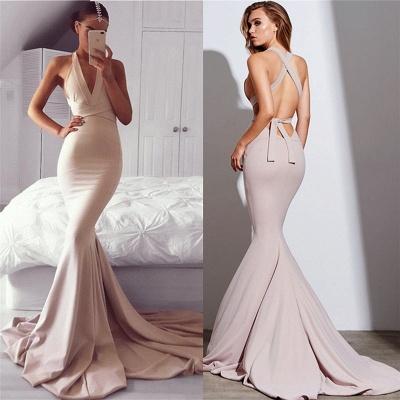 Champagner Lange Abendkleider Meerjungfrau Stil Neckholder Schleppe Abendmoden Abiballkleider Online_2