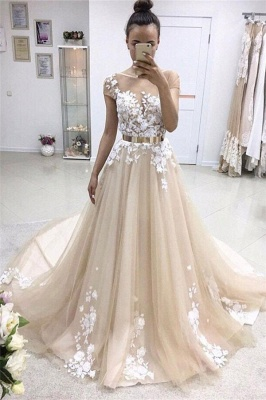 Champagne Wedding Dress A Line With Lace | Wedding Dresses Cheap Online_1
