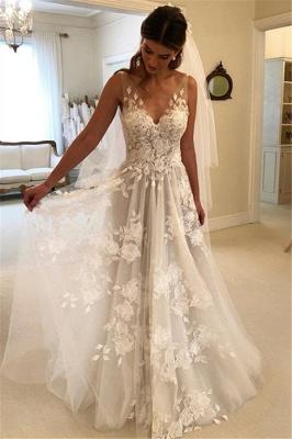 Elegant Brautkleider Weiße Günstig Spitze Hochzeitskleider Online Shop_1