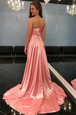 Simple evening dresses long V neckline | Pink prom dresses online_2