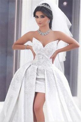 Duchesse-Linie Brautkleider Weiß Spitze Herz Schlepper Brautmoden Hochzeitskleider_3