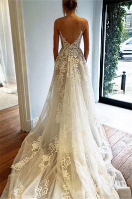 Extravagant Wedding Dresses Lace White Cheap A Line Wedding Dresses Online_2