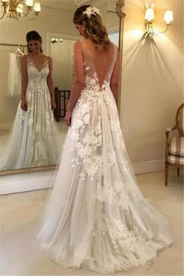 Elegant Brautkleider Weiße Günstig Spitze Hochzeitskleider Online Shop_2
