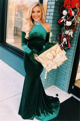 Green Evening Dresses Long With Sleeves | Prom Dresses Cheap Online_1