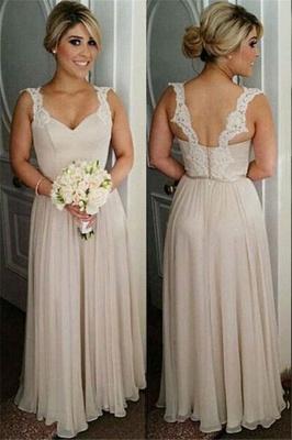 Schlichte Lange Brautjungfernkleider Chiffon Träger Kleider Für Brautjungfern_1