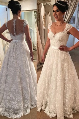 White Wedding Dresses for Civil Ceremonies A line Wedding Dresses With Lace_1