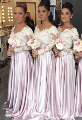 Long Sleeves Bridesmaid Dresses Lace Floor Length Bridesmaid Dresses Cheap_1