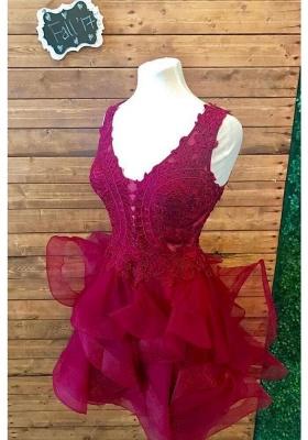 Designer Cocktail Dresses Short Wine Red Evening Dresses Lace Online_2