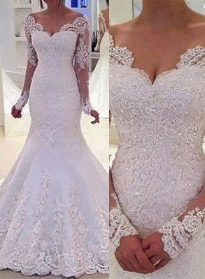Lang Ärmel Brautkleider Weiß Spitz Meerjungfrau Rückenfrei Brautmoden Hochzeitskleider Nachmäßig_1