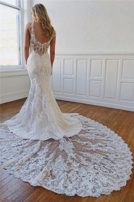 Designer wedding dress mermaid | Backless wedding dresses with lace_3