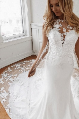 Elegant wedding dresses with lace | Mermaid wedding dress cheap online_1
