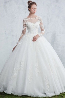White wedding dresses with sleeves order lace wedding dresses online_1