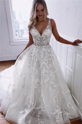 Elegant wedding dresses v neckline with lace | Wedding Dress A Line Online_1