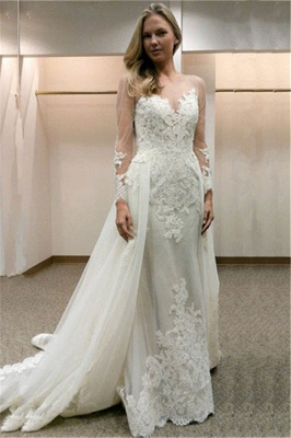Designer Wedding Dresses With Sleeves A line lace wedding dress_1