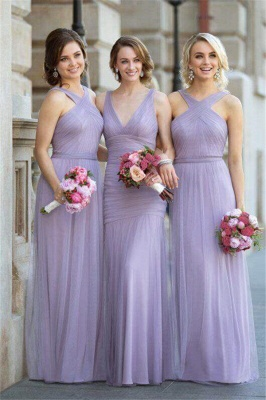 Lavender Long Bridesmaid Dresses Tulle Floor Length Sheath Dress for Bridesmaids_1