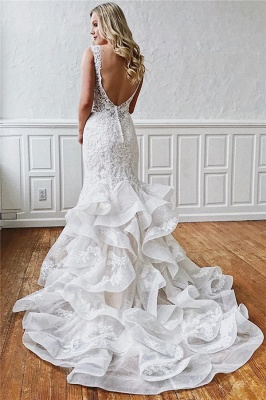 Romantic wedding dresses with lace | White mermaid wedding dress online_2