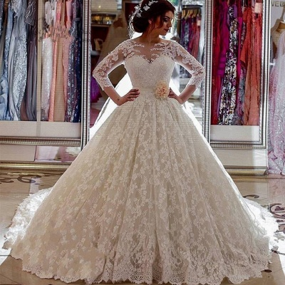 Long Sleeves Wedding Dresses White Lace With Train Princess Wedding Gowns Custom Moderate_2