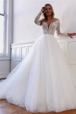 Elegant wedding dresses with lace sleeves | Wedding Dress A Line Online_1