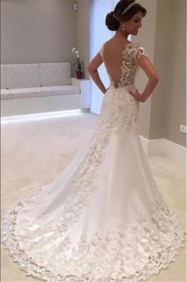 Weiße Brautkleider Spitze 2021 Herzförmig Rückenfrei Brautmoden Hochzeitskleider Meerjungfrau_2