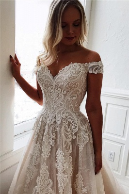 Elegant wedding dresses with lace | Wedding dress A line_1