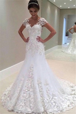 Weiße Brautkleider Spitze 2021 Herzförmig Rückenfrei Brautmoden Hochzeitskleider Meerjungfrau_3