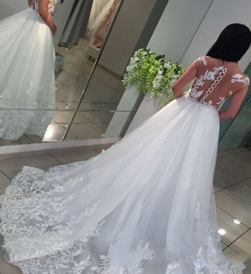 Cheap A Line Wedding Dresses Lace Wedding Dresses With Train_2