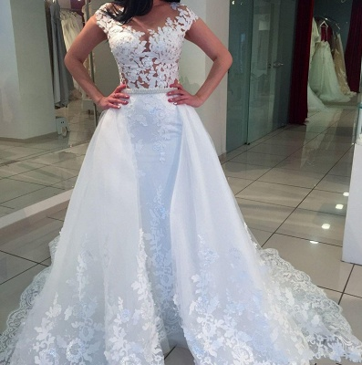 Cheap A Line Wedding Dresses Lace Wedding Dresses With Train_1