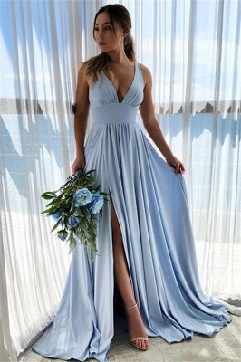 Blue Evening Dresses Long V Neck | Buy prom dresses online_2