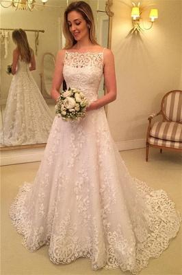 Schlichte Brautkleider A Linie Günstige Hochzeitskleider Mit Spitze_1