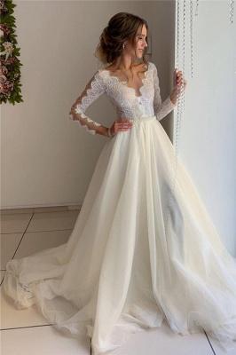Elegante Hochzeitskleider mit Ärmel | Brautkleid A Linie Spitze_1