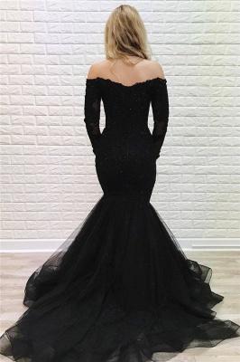 Elegante Abendkleider Lang Schwarz Spitze | Abiballkleider mit Ärmel_2