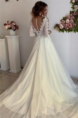 Elegante Hochzeitskleider mit Ärmel | Brautkleid A Linie Spitze_2